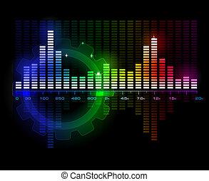 Sound Wave Spectrum Analyzer glowing vector