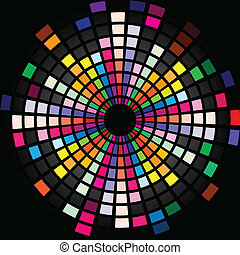 Colorful Graphic Equalizer Display for title page design. Circle.
