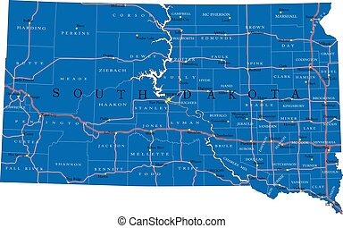 South Dakota state political map
