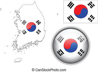 South Korea, Korean flag, map and glossy button, vector illustration set.