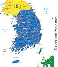 Highly detailed vector map of South Korea with administrative regions, main cities and roads.