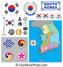 Vector map of South Korea with a set of signs and symbols