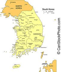 South Korea, editable vector map broken down by administrative districts includes surrounding countries, in color with cities, district names and capitals, all objects editable. Great for building sales and marketing territory maps, illustrations, web graphics and graphic design. Includes sections ...