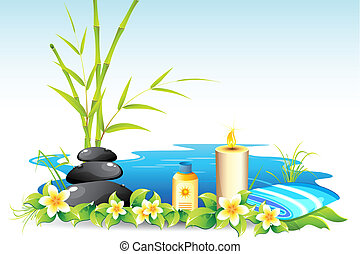 illustration of massage stone with candle and lotion
