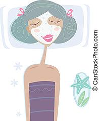 Spa - Girl with facial sea mask