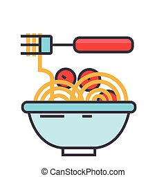 Spaghetti bolognese with meat balls, italian restaurant concept. Line vector icon. Editable stroke. Flat linear illustration isolated on white background