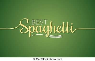 Spaghetti logo. Pasta lettering sign background