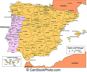 Spain and Portugal, editable vector map broken down by administrative districts includes surrounding countries, in color with cities, district names and capitals, all objects editable. Great for building sales and marketing territory maps, illustrations, web graphics and graphic design. Includes ...
