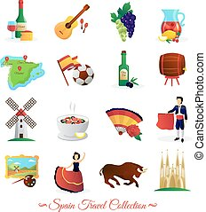 Tourists attractions in spain and national cultural symbols wine and food flat icons collection abstract vector isolated illustration