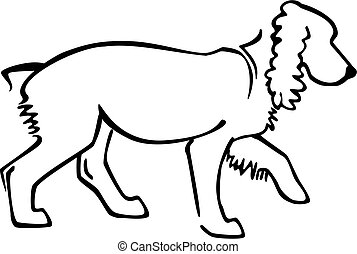 line drawing of a spaniel dog