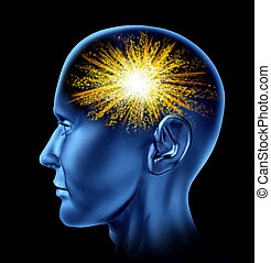 Spark of creativity with a human head and a firework icon in the brain area as a symbol of creativity.