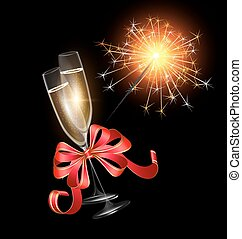 sparkler with two glasses of champagne