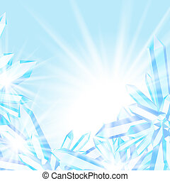 Vector card with winter Christmas simple decor, ice in close up, shining sun lights on blue cool fresh blurry frozen background with cold air