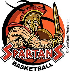 spartan team design with muscular spartan mascot inside a basketball