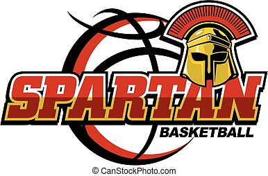 spartan basketball team design with helmet and large basketball