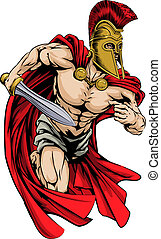 An illustration of a warrior character or sports mascot in a trojan or Spartan style helmet holding a sword