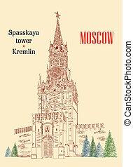 Spasskaya Tower of Kremlin colorful vector hand drawing illustration