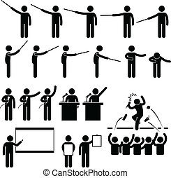 A set of pictograms representing teacher or a speaker giving his presentation and lecture.