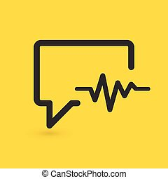 speaking bubble with cardiogram . medicine related chat icon. vector illustration isolated on yellow background