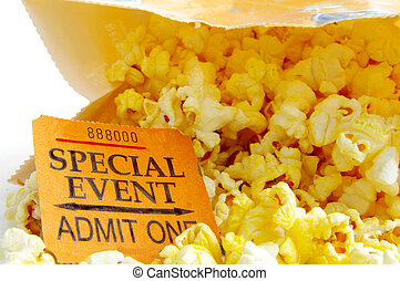 special eventticket stub and bag of popcorn