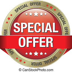 special offer red gold button isolated background