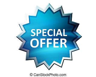 Special offer on blue label over white background. Illustration