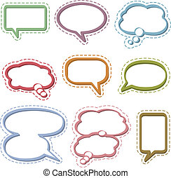 Blank speech and thought bubbles in various shapes and sizes.