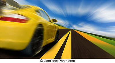 High-speed motion-blurred auto on rural highway
