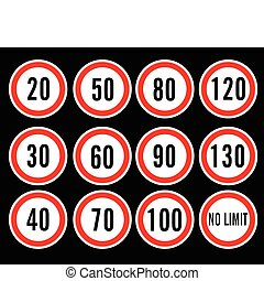 speed limit signs vector illustration