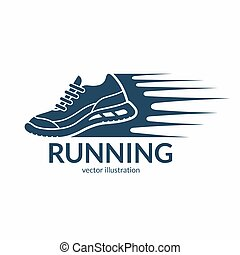 Speeding running shoe icon, symbol or logo. Sneaker silhouette with motion trails. Vector illustration