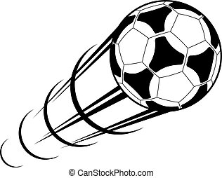 Black and white cartoon vector illustration of a speeding soccer ball or football with a motion trail