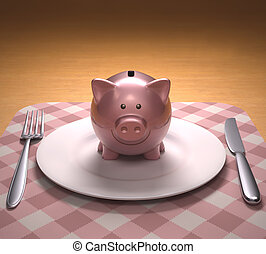 Piggy bank on the plate ready to be opened. With clipping path included.