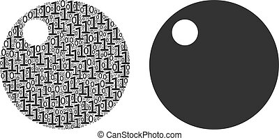Sphere Collage of Binary Digits