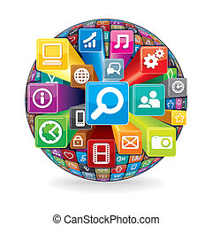 Sphere from a Various Social Media and Computer Icons. Technology Concept. Vector isolated on White Background.