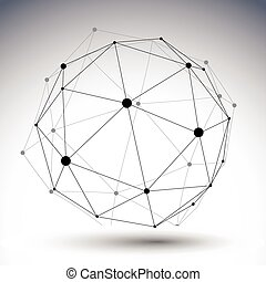 Spherical abstract single color lined 3D illustration, vector digital eps8 lattice messy technology object.