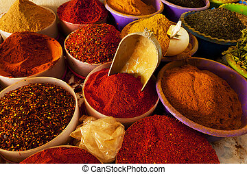 Beautiful vivid oriental market with various spices