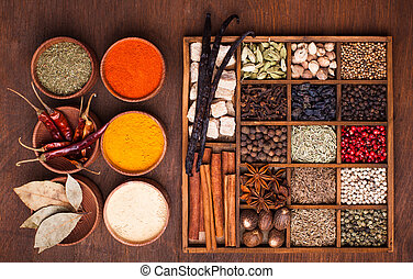 Different types of spices in wooden box
