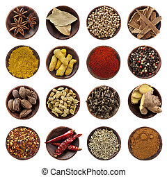 Collection of spices in small wooden bowls, isolated on white. From top left: Star anise, bay leaves, coriander seeds, cinnamon bark, curry powder, turmeric fingers, paprika, peppercorns, black cardamom pods, cardamom seeds, cloves, ginger root, chili flakes, dried red chilis, fennel seeds, nutmeg.