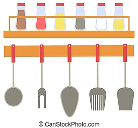 Spices in Bottles and Cutlery of Kitchen Vector