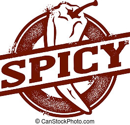 Spicy food stamp featuring chili pepper.