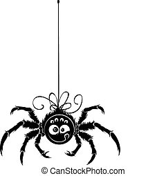 Spider contour ? simple black object on white background. Positive character with fun smile. Round face, smile, two big eyes and four smaller. Eight legs and web's thread.