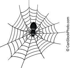 illustration of a spider in a cobweb