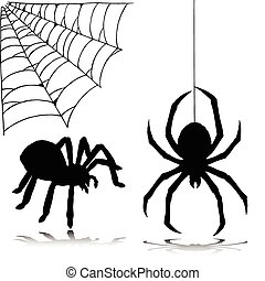 spider two vector silhouettes
