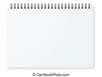 Blank white spiral bound paper drawing pad with shadow