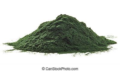 Stack of spirulina algae powder isolated on white background