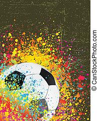 Splash grunge background with a soccer ball. EPS 8