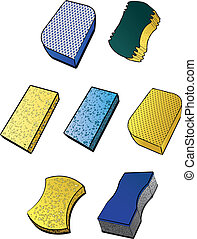 Illustrations of various types of sponges.