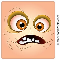 Scary Creepy Cartoon Halloween Monster Character Smiley Face Expression Vector Illustration