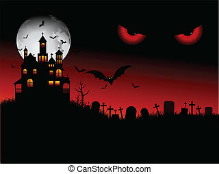 Spooky Halloween scene with evil eyes