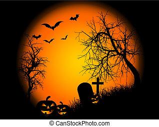 Spooky landscape scene on Halloween night